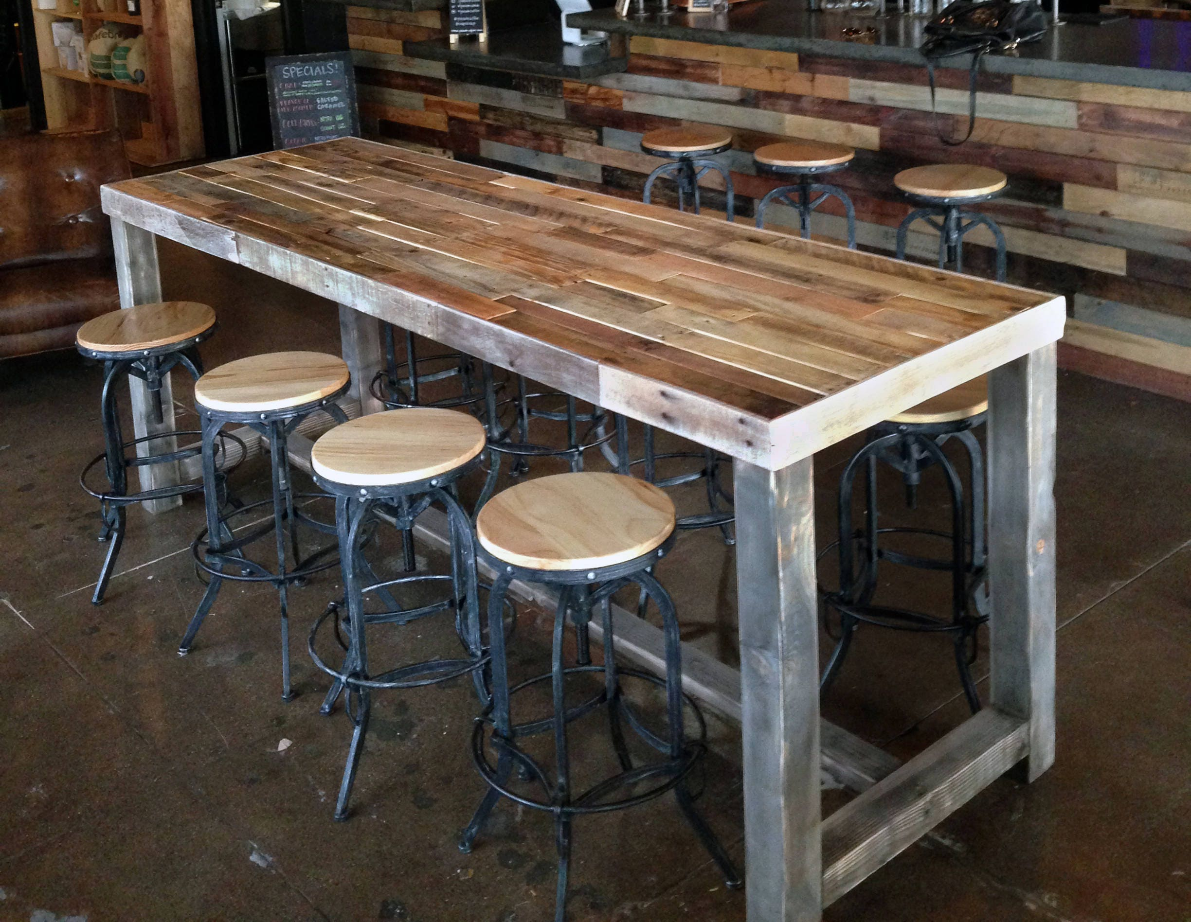 Reclaimed Wood Bar Restaurant Counter Community Rustic Custom # Muebles Only Cali