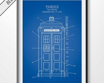 Tardis blueprint etsy tardis poster tardis print tardis blueprint tardis patent print sci fi decor doctor who illustration movie poster bbc tv show malvernweather