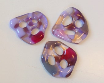 Set of 3 glass buttons