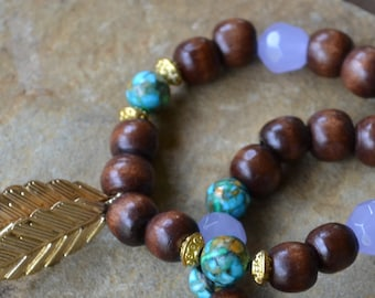 FREE SHIPPING - Arm Candy Bracelet Set - Unique Charm Bracelet with Lavender Brown Green beads and Gold Leaf Charm