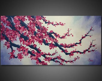 Cherry Blossom Painting - cherry blossom wall art, abstract canvas art, abstract art painting, large canvas art large CANVAS PRINTs wall art