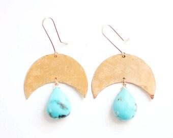 Turquoise Teardrop Crescent Moon Earrings | Brass | 14k Gold Fill | Turquoise Jewelry | Turquoise Earrings | Crescent Earrings | Sterling
