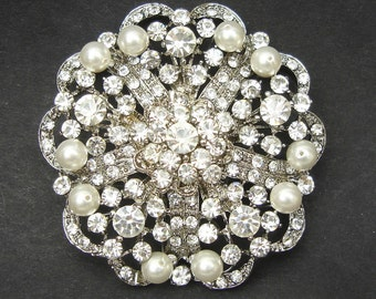 Vintage Pearl & Crystal Bridal Brooch, Victorian Wedding Brooch, Wedding Jewelry Brooch, Ivory White Pearls, Crystal Sash Brooch, MILA