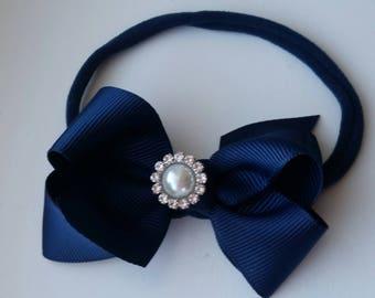 Navy Blue nylon headband w/pearl and rhinestone accent, nylon hair bow, baby headband, infant headband, photo prop, hair bow, grosgrain bow