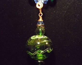 Ensemble collier et boucles d'oreilles vert et cuivre 2 pièce