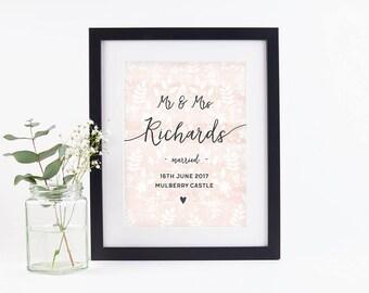 Personalised Wedding Print Botanical Watercolour Blush