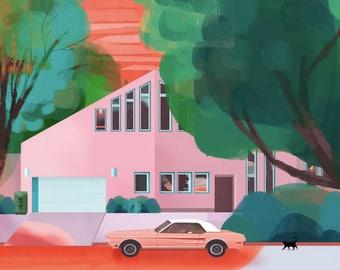 Pink Silver Lake Art Print