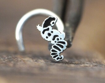 Silver Leopard Gecko Nose Stud | Nature Nose Stud | Unique Nose Ring | Handmade Nose Stud | Nose Piercing | Nose Body Jewelry | Nose Jewelry