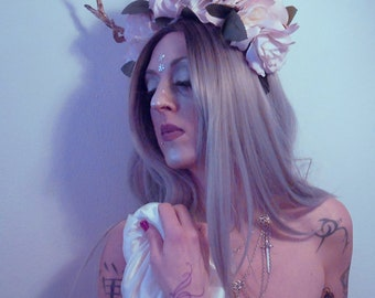 READY TO SHIP, Nymph headpiece, flower headdress, fantasy headpiece, flower headband, spring, deer