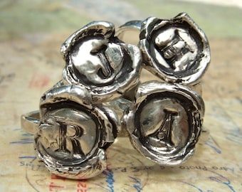 Wax Seal Jewelry, Wax Seal Monogram Ring, Reclaimed Sterling Silver, Capital Letter, Custom Whole and Half Sizes 4 5 6 7 8 9 10 11 12 13 14