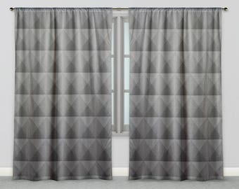 Lovely Masculine Fabric Window Drapes Industrial Gradient Grey Triangle Geometric  Tile