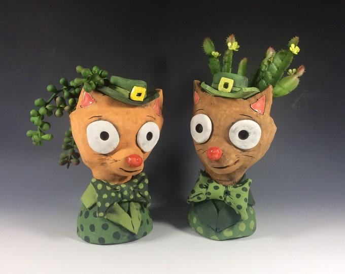 Leprechaun Cats // St. Patrick's Day // Succulent Planter // Cute // Ceramic // Planters // Ceramic Pots // Green // Orange // Cats