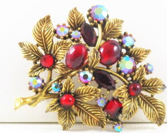 Vintage Art (ModeArt) Red and Aurora Borealis Glass Rhinestone Floral Brooch Pin (B-1-6)