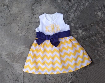 Monogram girl clothes, yellow chevron dress, baby girl fall clothes, little girls dresses, toddler fall outfit, personalized clothes
