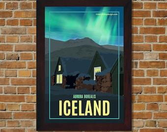 Iceland Aurora Borealis (Northern Lights) - Vintage Travel Poster