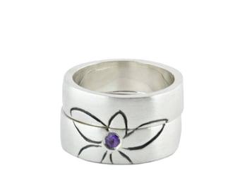 Illustration engagement ring, flower wedding ring, Amethyst wedding ring, Amethyst, custom silver engagement ring, wedding band ring