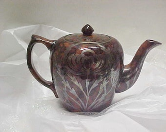 Old English Teapot-Sterling Overlay c1900