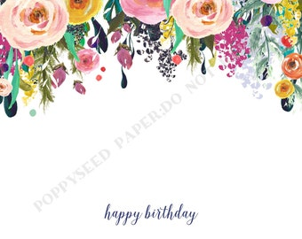 Floral Happy Birthday note card, personalized flat note cards, Happy Birthday stationery