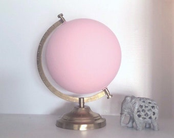 Pale Pink Painted Globe // Millenial pink, blush pink and gold world globe // Perfect for bookshelves, nursery decor, classrooms, desks, etc