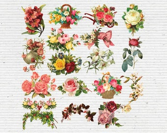Vintage Flowers Cliparts, Images in PNG Transparent Background, Digital Graphics for Scrapbooking, Cardmaking and Party Printables