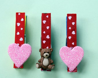 Valentines Day, Love Heart Clothespin Magnets, Place Card Holders, Message Clips, Gift Tag