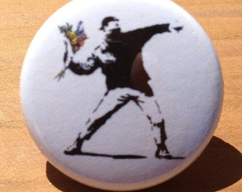 Throwing flower stencil - button, magnet, or bottle opener