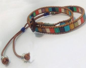 Happy southwestern mosaic Tila wrap bracelet