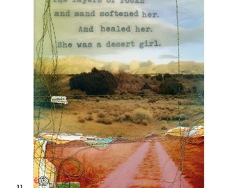 "Mixed media collage print ""Desert Girl"""