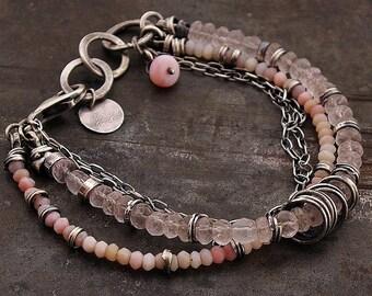 oxidised silver pastel  pink opal & rose quartz  bracelet •  925 sterling silver chain multi-link  gift for mom inspirational gift for women