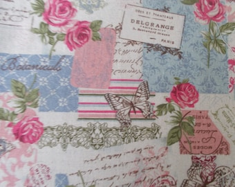 coupon of fabric roses and butterflies 50 x 50 cm.