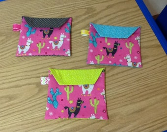Reusable sandwich bags, Llamas, cactus, flowers, blue, pink, white, gray, package of 3, Eco friendly, machine washable, water resistant
