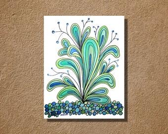 Happy Plant Original Watercolor Zentangle Painting 9x12