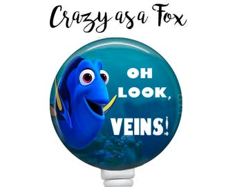 Dory Oh Look, Veins! Phlebotomist Retractable Badge Holder, Badge Reel, Lanyard, Stethoscope ID Tag, Phlebotomist Gift