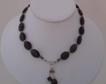 Smoky Quartz Front Fasten Necklack and Earring Set