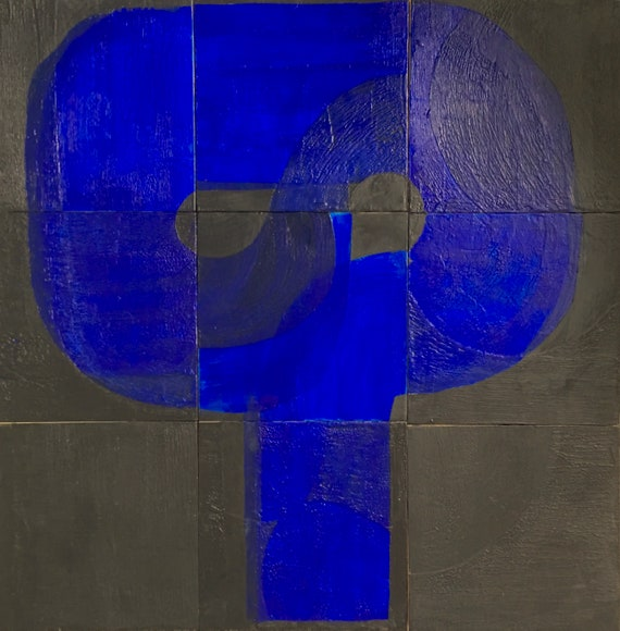 Genie, nine panel abstract encaustic painting