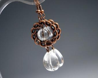 Clear Quartz Earrings, Dangle Copper Crystal Earrings, Natural Clear Quartz Drops