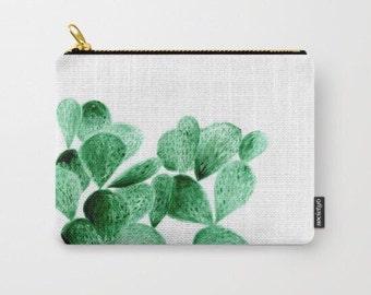 Cactus Pouch, cactus makeup bag, makeup bag, cosmetic pouch, green white pouch, plant pouch, large cactus pouch, small cactus pouch