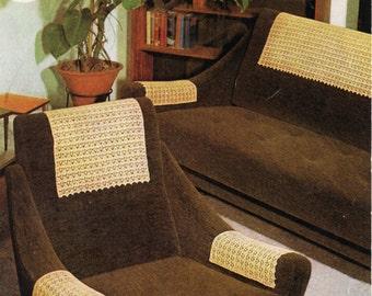 Vintage CROCHET PATTERN 1960s Antimacassars Crochet Chair Arm Covers Crochet Couch Back Cover Crochet Chair & Setee Set PDF Instant Download
