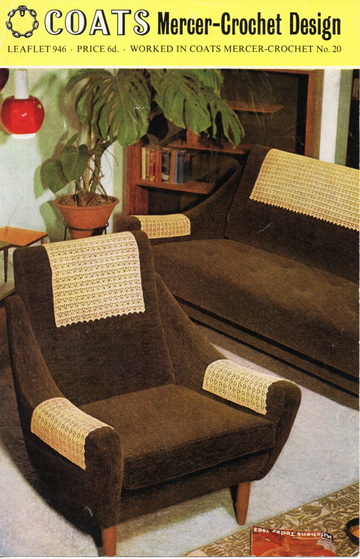 Vintage CROCHET PATTERN 1960s Antimacassars Crochet Chair Arm Covers ...