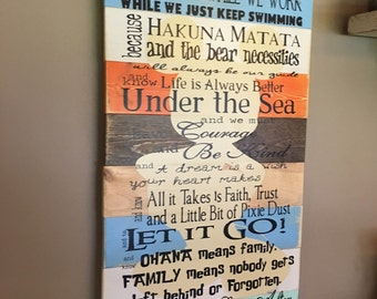 Disney Quotes Family Rules Planked Wood