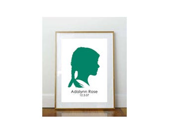 5 x 7 Child Silhouette // Custom Child Portrait // Child Portrait Silhouette // Custom //  5 x 7 Print // Keepsake // Personalized Print