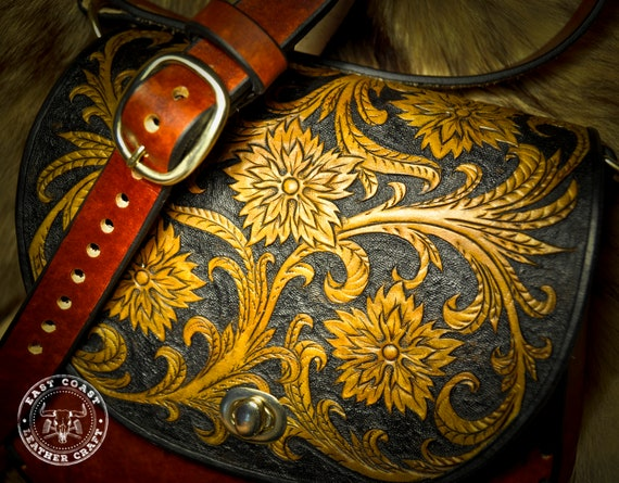 Western Floral Tooled Leather Purse
