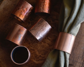 Copper napkin rings - textured, fired, smooth industrial dining tabletop decor housewarming gift wedding hostess unique summer boss bridesma