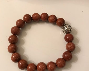 10 mm Brown Goldstone Bracelet