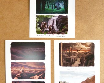 A5 prints - Lord of the rings inspired tribute illustrations