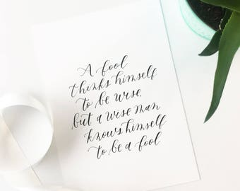Custom Calligraphy Wall Art // Handwritten Quote or Verse // 5x7