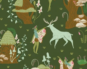 Woodland Nymphs in Clover by Rae Ritchie - Dear Stella cotton fabric