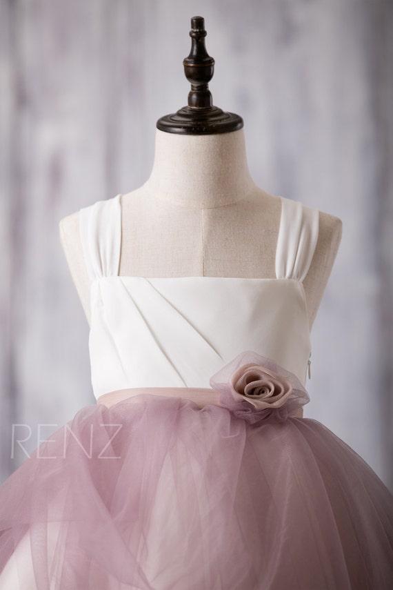 Off White Dark Mauve Junior Bridesmaid Dress Square Tulle