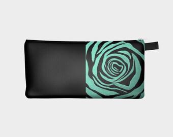Aqua and black rose design pencil case or makeup bag, designer pencil case, handmade pencil case, unique pencil case by Felicianation Ink