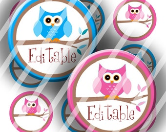 "Editable Bottle Cap Collage Sheet -  Owl Branch (235) - 1"" Digital Bottle Cap Images"